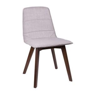Kαρέκλα Anny με ξύλινα πόδια cappuccino με πλάτη σε ύφασμα ανοιχτό γκρί