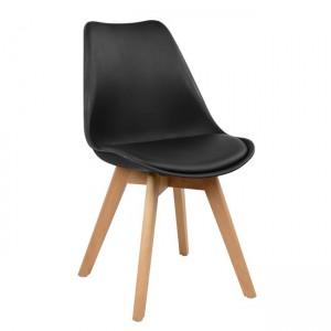 Καρέκλα Venus PP με ξύλινα πόδια και κάθισμα pu σε χρώμα  μαύρο - φυσικό