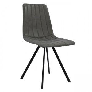 Καρέκλα Sena με μεταλλικά ποδιά και κάθισμα pu σε χρώμα γκρί - μαύρο