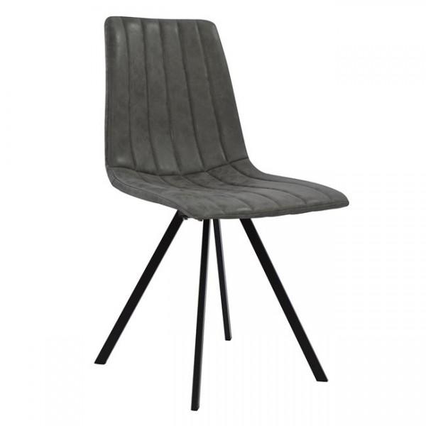 Καρέκλα Sena με μεταλλικά ποδιά και κάθισμα pu σε χρώμα γκρί - μαύρο Καρέκλες Έπιπλα - epiploplanet.gr