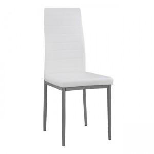 Καρέκλα Senedo Μεταλλική βαφής με Δερματίνη λευκή