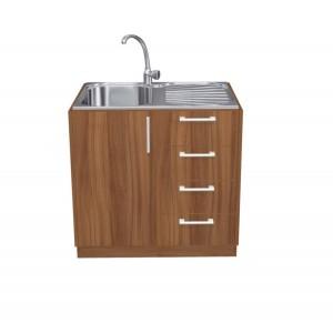 Ντουλάπι Κουζίνας Βάσης με Νεροχύτη σε χρώμα natural walnut  π100*Β50*Υ86 Ecoline 801