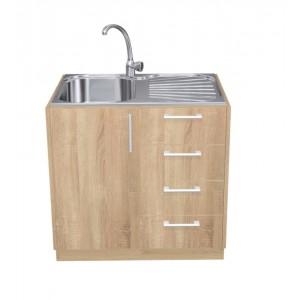 Ντουλάπι Κουζίνας Βάσης με Νεροχύτη σε χρώμα natural oak π100*Β50*Υ86 Ecoline 801