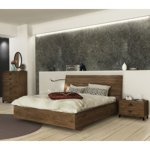 Κρεβάτι διπλό Crete σε χώμα dark rockford  150*200