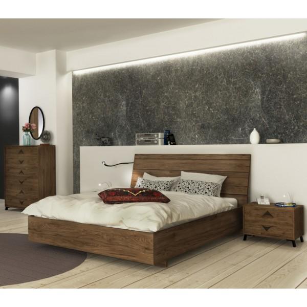 Κρεβάτι διπλό Crete σε χώμα dark rockford  150*200 Κρεβάτια Έπιπλα - epiploplanet.gr
