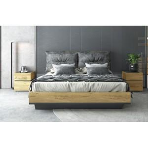 Κρεβάτι διπλό με ξυλινη βαση & αποσπομενα μαξιλαρια Loft σε χρωμα rustik oak/graphite grey 160*200