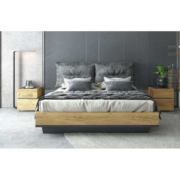 Κρεβάτι διπλό με ξυλινη βαση & αποσπομενα μαξιλαρια Loft σε χρωμα rustik oak/graphite grey 160*200 Κρεβάτια Έπιπλα - epiploplanet.gr