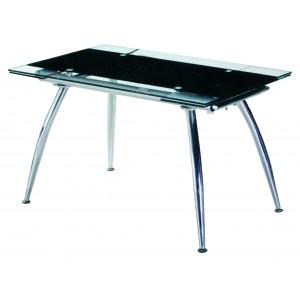 Τραπέζι Κουζίνας Γυάλινο με μεταλλικά πόδια 80*125/175 Μαύρο
