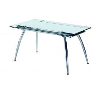 Τραπέζι Κουζίνας Γυάλινο με μεταλλικά πόδια 80*125/175 Λευκό