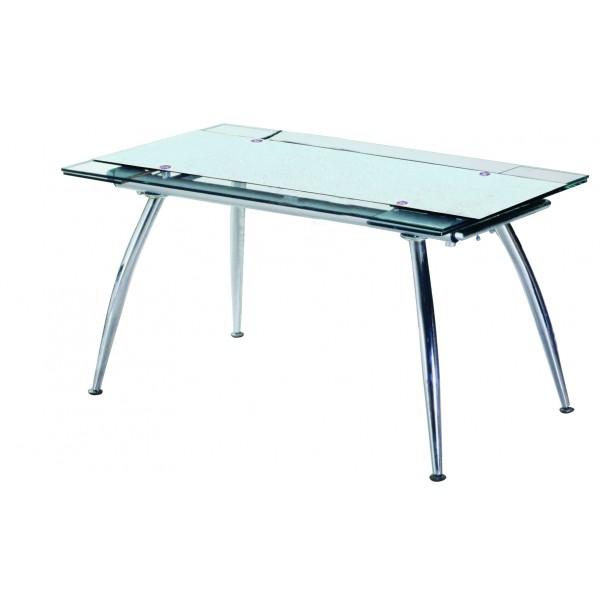 Τραπεζια - Τραπέζι Κουζίνας Γυάλινο με μεταλλικά πόδια 80*125/175 Λευκό Τραπέζια από Γυάλινη Επιφάνεια epiploplanet.gr