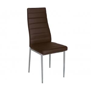 Καρέκλα Aliana μεταλλική χρωμίου σε pu καφέ