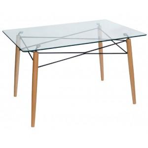 Τραπέζι Κουζίνας Γυάλινο με ξύλινα πόδια 120*80