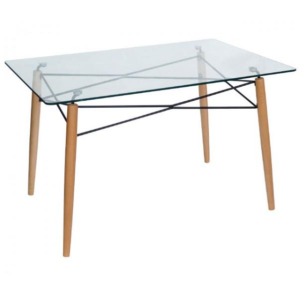 Τραπέζι Κουζίνας Γυάλινο με ξύλινα πόδια 120*80 Τραπέζια από Γυάλινη Επιφάνεια Έπιπλα - epiploplanet.gr