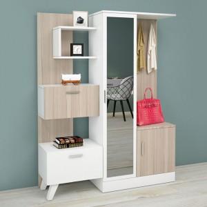 Έπιπλο εισόδου με ράφια και καθρέφτη σε χρώμα λευκό-μόκα