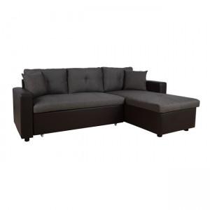 Γωνιακός Καναπές  Κρεβάτι DENIA σε χρώμα γκρί με καφέ PU