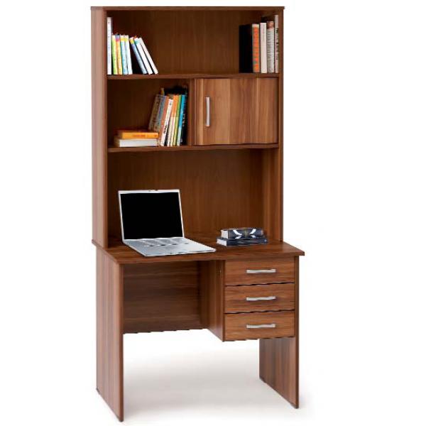 Γραφείο με επικαθήμενη Βιβλιοθήκη Eco470 90x60 Γραφεία Εργασίας epiploplanet.gr