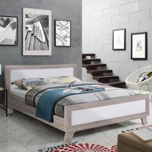 Κρεβάτι διπλό 150*200 σε χρώμα sonama με λευκό