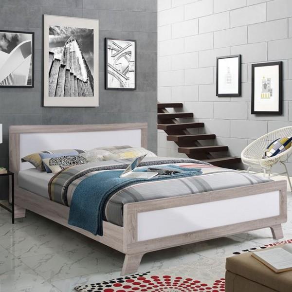 Κρεβατια - Κρεβάτι διπλό 150*200 σε χρώμα sonama με λευκό Κρεβάτια από MDF-Μελαμίνη epiploplanet.gr