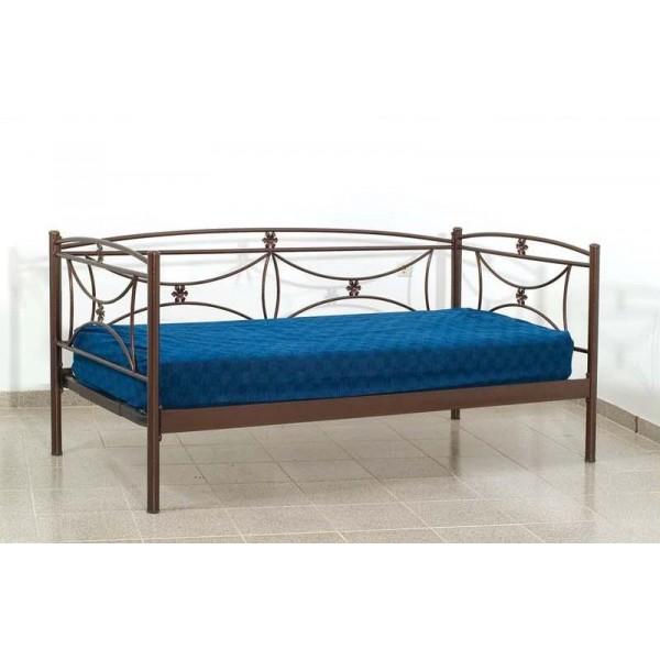 Καναπές Κρεβάτι Μεταλλικός Μονός σε χρώμα χαλκόμαυρο