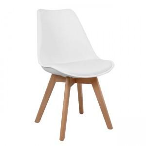 Καρέκλα Venus PP με ξύλινα πόδια και κάθισμα pu σε χρώμα  λευκό - φυσικό