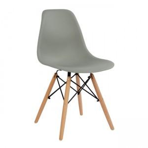 Καρέκλα με ξύλινα πόδια και κάθισμα γκρί