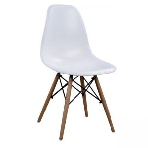 Καρέκλα Xenia PP με ξύλινα πόδια σε χρώμα  λευκό - φυσικό
