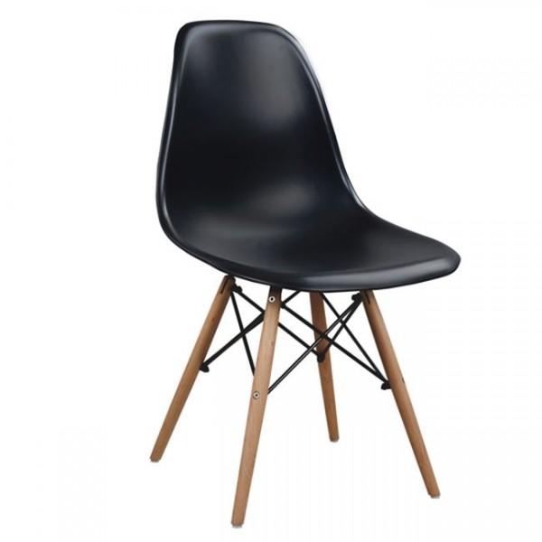 Καρεκλες Τραπεζαριας - Καρέκλα με ξύλινα πόδια και κάθισμα μαύρο Καρέκλες από πολυπροπυλένιο(πλαστικές) epiploplanet.gr