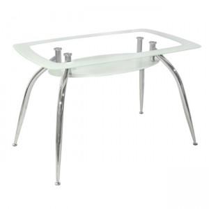 Τραπέζι Κουζίνας Γυάλινο με Μεταλλικά πόδια Λευκό-Διάφανο 120*75