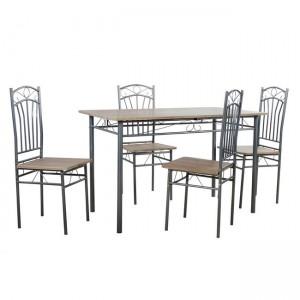 Τραπεζαρία ξύλινη με μέταλλο σετ με 4 καρέκλες BMB501