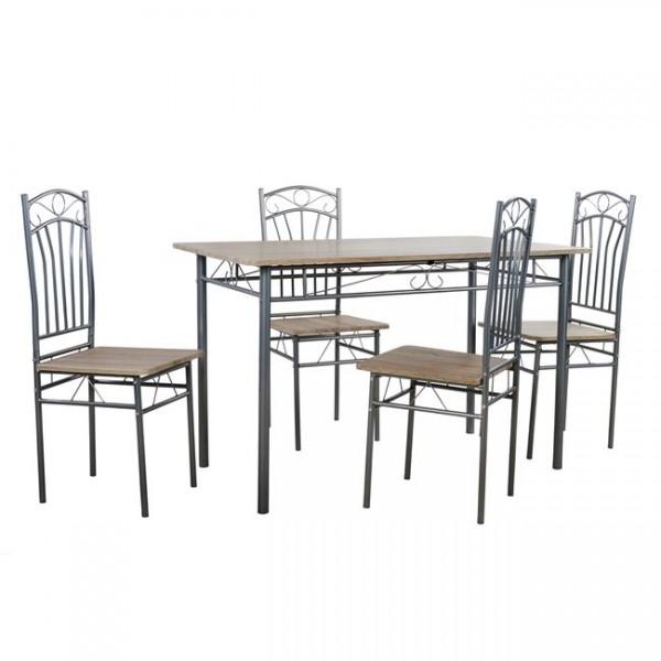 Τραπεζαρία ξύλινη με μέταλλο σετ με 4 καρέκλες BMB501 Σετ τραπεζαρίες epiploplanet.gr